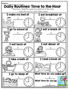 Time to the Hour - This is a great activity to help students identify their daily routine while also learning about how to tell time. Giving students predictability helps them feel more confident going into the next activity. Clock Worksheets, 1st Grade Worksheets, School Worksheets, 1st Grade Math, Kindergarten Math Worksheets, Reading Worksheets, Alphabet Worksheets, Worksheets For Kids, Second Grade