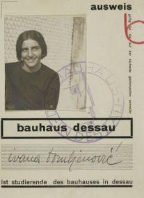 Bauhaus student ID of Ivana Tomljenović, Dessau, 1929/1930