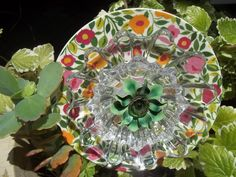 recycle glass yard art   Recycled Garden Yard Art Glass Flower by YourRepurposedHome