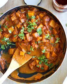 squash curry vegetarian, healthier, 299 calories, 18g fat, 31g carbs, 7g protein. Sounds good to me :).