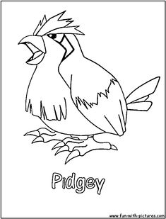 free easy cool pokemon pidgey coloring sheets for kids printable to print and color # easy Pokemon Coloring Sheets, Coloring Sheets For Kids, Baby Pokemon, Cool Pokemon, Pokemon Printables, Retro Cartoons, Printable Coloring Pages, Drawings, Cute