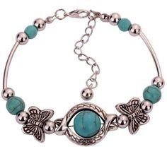 New Bohemia Fashion Charms Turquoise Beads Gem Bracelet Vintage Silver Butterfly Bracelets Women Fine Jewelry Pulseras D096