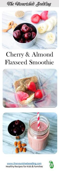 Cherries and almonds come together in a rich smoothie, which is loaded with antioxidants, protein and minerals such as potassium and calcium.  Almond butter and flaxseeds add an underlying nutty flavor, complementing the sweetness of the fruit.