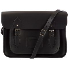 "The Cambridge Satchel Company The Classic 13"" Leather Satchel Bag (£108) ❤ liked on Polyvore featuring bags, handbags, bags/purses, black, black handbags, leather purse, black purse, shoulder strap purses and black satchel handbag"