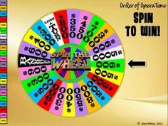 """Order of Operations """"Spin to Win"""" Game! Watch the video to see this really fun game in action. Students love to spin the wheel and it makes math class so much more fun :) http://www.teacherspayteachers.com/Product/Order-of-Operations-Spin-to-Win-Game"""