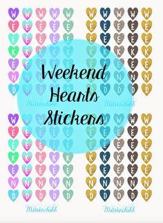 Vertical Hearts Weekend Dividers Stickers - Wendaful