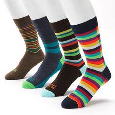 Funky Socks 4-pk. Striped Crew Dress Socks - Men Funky Socks, Colorful Socks, Socks Men, Men's Socks, Socks World, Pork Pie Hat, Argyle Socks, Work Socks, Wingtip Shoes