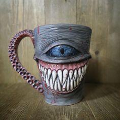 Lenny - Jaws, Ceramic, 15 oz Mug/Cup Ceramic Monsters, Clay Monsters, Ceramic Cups, Ceramic Pottery, Ceramic Art, Crackpot Café, Clay Art Projects, Horror Decor, Mug Art