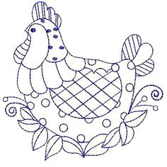 Three French Hens Farm Animal Coloring PagesEmbroidery