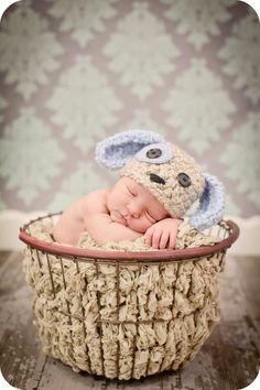 Newborn Photo Prop Baby Boy Puppy Dog Hat