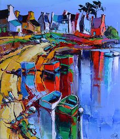 Lepape, Eric - LA PLAGE AUX BARQUES - oil on linen painting.