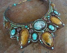 Bead Embroidery Jewelry, Beaded Embroidery, Secure Wallet, Turquoise Necklace, Jewels, Color, Fashion, Moda, Jewerly