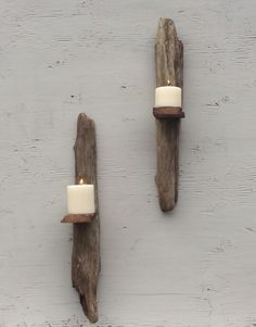 Wall hanging drift wood pillar candle holder sconce home decor wall art lighting candle beach decor natural an...
