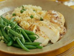 Chicken with Apple Gravy, Rice Pilaf and Green Beans.