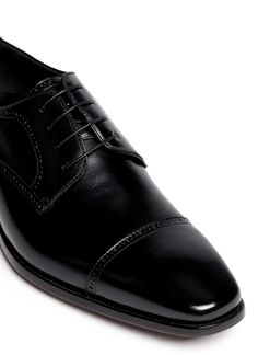 4390fef6fd7 Artigiano Four Eyelet Leather Brogue Derbies in Black for Men