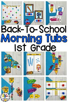 Are you looking to start the school year off with a new morning routine? These Back-to-School Morning Tubs for 1st Grade are fun, hands-on activities used to learn and review literacy and math concepts. These interactive morning tubs are also an entertaining and engaging way to start the day. This set includes 5 literacy and 5 math morning tubs that are perfect for children around the ages of 6-7. Click on the picture to learn more about these morning work activities! #morningtubs #backtoschool