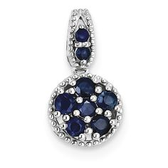 Sterling Silver Rhodium-plated & Sapphire Circle Pendant