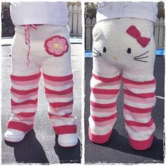 Etsy seller Mazter has created a knitting pattern for these teeth-achingly cute Hello Kitty toddler trousers and is accepting pre-sales. Knitting pattern - Kitty pants (via Craft) Crochet Pants, Knit Pants, Crochet Baby, Knit Crochet, Free Crochet, Knitting For Kids, Baby Knitting Patterns, Crochet Patterns, Toddler Pants