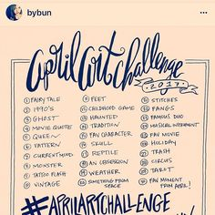 Hey peeps @bybun April Art Challenge starts Saturday!!!! C'mon and join in, it's fun. Here's the prompts if you want to get a head start❤️❤️❤️