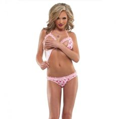 CLICK IMAGE TWICE FOR PRICING AND INFO :) #women #panties #lingerie #crotchlesspanties #lace #sexylingerie #intimates #undergarment #honeymoon #bikini #satin #hipster see more crotchless panties at http://zpanties.com/category/panties-categories/crotchless-panties/  - BIKINI TOP AND CROTCHLESS PANTY PINK « Z Panties