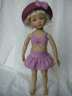 "Swimsuit set for 13"" Dianna Effner Little Darling doll 4 pcs handmade Tomi Jane $45+"