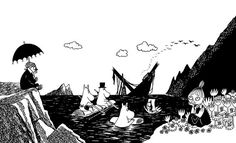 Moomin – wall murals, wallpapers, and canvas prints – Photowall Boat Wallpaper, Moomin Valley, Childhood Stories, Tove Jansson, Cat 2, New Wall, Troll, Finland, Wall Murals