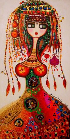 Acrylic, mixed media on canvas by Canan Berber, an artist who was born in the center of Anatolia, in the midst of the Hittite culture. People Illustration, Illustrations, Art Fantaisiste, Orient, Mixed Media Canvas, Whimsical Art, Painting Inspiration, Art Pictures, Folk Art
