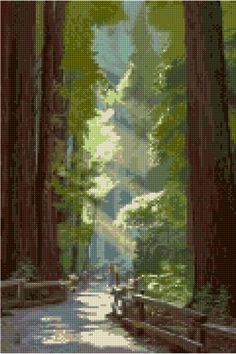 Cross stitch pattern Vintage Muir Woods Redwoods poster PDF - New EASY chart with one color per sheet AND regular chart! Two charts in one! by HeritageCharts on Etsy