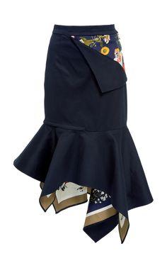 MONSE  Football Floral Peek-A-Boo Skirt