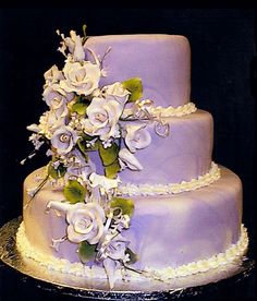 Marbled Purple cake with White Roses