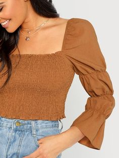 To find out about the Marie Sleeve Shirred Crop Top at SHEIN, part of our latest Blouses ready to shop online today! Romwe, Crop Tops Online, Spring Shirts, Types Of Sleeves, Sleeve Types, Brown Fashion, Active Wear For Women, Fashion News, Women's Fashion