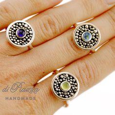 Custom Made Swiss Blue Topaz Granulation Ring In Sterling Silver
