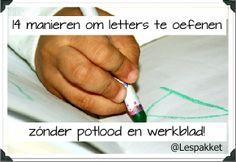 14 manieren om letters te oefenen met kleuters zonder potlood en werkblad - Lespakket