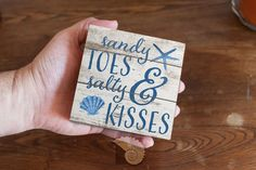 """Sandy Toes and Salty Kisses 4 x 4 inch Art Box Typography pallet sign wooden panel coastal decor beachy wall art gift for her by CoastalFocusArt 