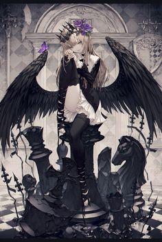 Drawing Anime Angel Manga Girl Ideas For 2019 Fille Anime Cool, Art Anime Fille, Cool Anime Girl, Beautiful Anime Girl, Anime Art Girl, Anime Girls, Gothic Anime Girl, Dark Anime Girl, Anime Fantasy