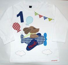 Langarmshirts - Geburtstagsshirt -Guten Flug, kleiner Hund - http://de.dawanda.com/product/98131443-geburtstagsshirt-guten-flug-kleiner-hund