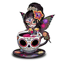 Drawing In 908225001 - Jasmine Becket-Griffith Sugar Skull-Inspired Fairy Figurine - Limited-edition! Handcrafted fairy figurine enchants with Jasmine Becket-Griffith's signature big eyes and crystalline snowflake with a glass gem. Sugar Skull Mädchen, Sugar Skull Artwork, Sugar Skull Makeup, Sugar Skull Tattoos, Sugar Skull Painting, Sugar Skull Crafts, Sugar Skull Design, Ear Tattoos, Makeup Tattoos