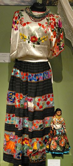 Mexican Costume Guerrero  This huipil and enredo (wrap) skirt are worn by the Nahua women from Acatlan, Guerrero Mexico. The doll is wearing a miniature version of the same traje. This was part of an exhibition at the Museo de Arte Popular in Mexico City, Mexico These are the traditionally accepted costumes or dresses of the various regions of Mexico from generations past up to currently - for more of Mexico visit www.mainlymexican.com #Mexico #Mexican #women #fashion #costume #dress