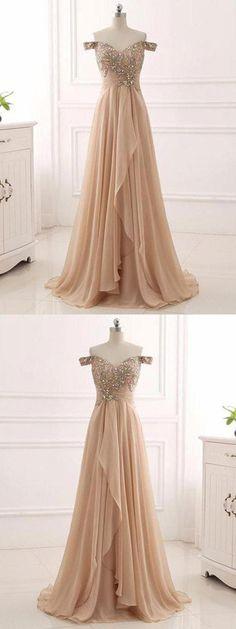 Champagne Prom Dress, Long Prom Dress, Prom Dress A-Line #Prom #Dress #ALine #Long #Champagne Prom Dresses Long