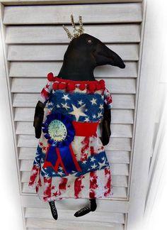 Primitive Folk Art Americana Crow doll  Lady of Liberty, grungy, naive #Americana