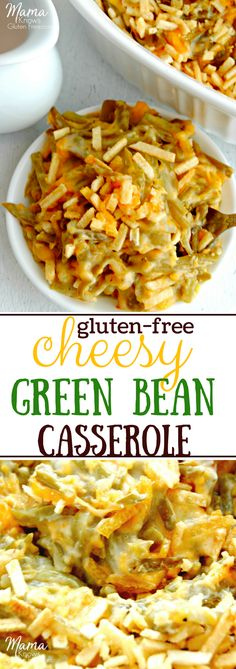 A new twist on everyone's favorite green bean casserole. French style green beans, a creamy cheese sauce and topped with crunchy potato sticks.#glutenfreerecipe #glutenfreethanksgiving #greenbeans