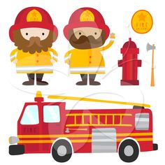 Fireman and Fire Engine clipart set by Creative Clip Art Collection: http://www.creativeclipartcollection.com/clipart/fire-engine-clip-art/