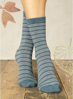 These bamboo socks from Braintree Clothing are just some of the lovely items available from Melbury Gallery online Bamboo Socks, The White Stripes, Sock Shop, Vegan Clothing, Striped Socks, Vegan Fashion, Organic Cotton, Denim, Lady