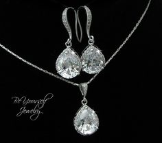 Bridal Earrings and Necklace Set Cubic Zirconia by BeYourselfJewelry