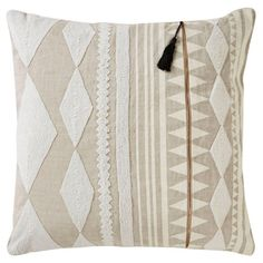 Nikki Chu by Jaipur Tribal Linen Decorative Pillow - Ivory / Tan Polyester Fill - PLC101577_P