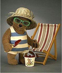 John Wright Paddington At The Beach Old Teddy Bears, Folding Beach Chair, You Are My Friend, John Wright, Paddington Bear, Felt Animals, Little Girls, Childhood, Plush