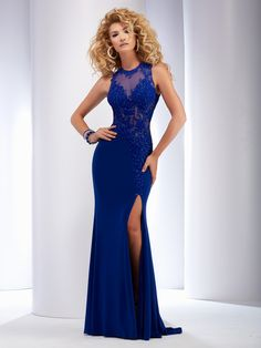 Clarisse 2016 long prom dress style 2503. Elegant and sexy fitted prom dress with lace details and a slit. Available in royal blue, magenta and jade green. Find retailers: http://clarisse.us/locator/index.php
