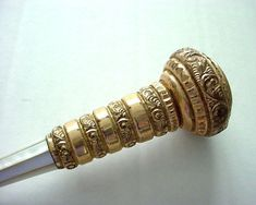 Antique Gold Plated and Mother-of-Pearl Parasol Handle