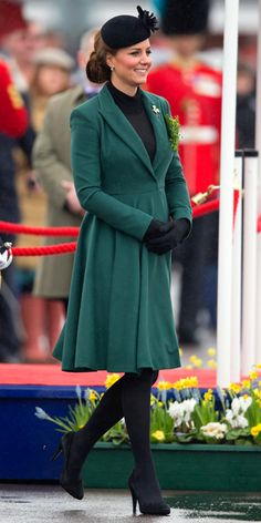The duchess returned to Aldershot on St. Patrick's Day 2013 to hand out shamrocks to the Irish Guards in the same emerald Emilia Wickstead coat she wore to the 2012 ceremony. She accessorized the look with a floral beret, black tights, and suede pumps.