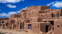 Pueblo de Taos in New Mexico. About 150 people still live in these mud-brick buildings